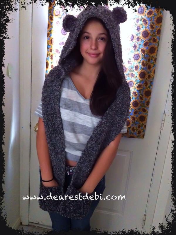 Crochet Snow Bear Scoodie - Dearest Debi Patterns