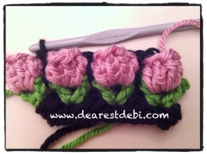 Crochet Flower Bud Headband - Dearest Debi Patterns
