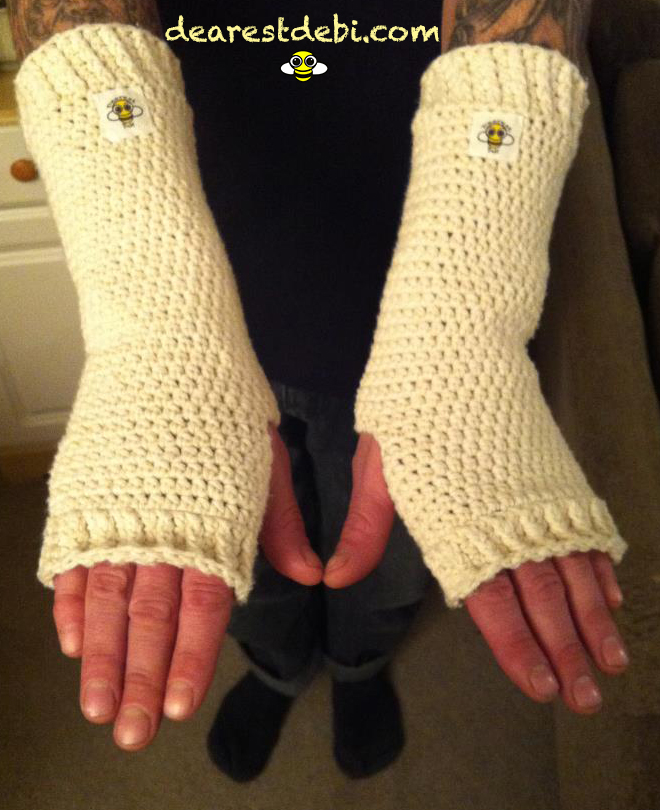 Free Crochet Patterns Hand Warmers : Cotton Crochet Arm Warmers - Dearest Debi Patterns