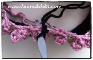 Crochet Flower Bud Headband - Working in center of popcorn stitch.