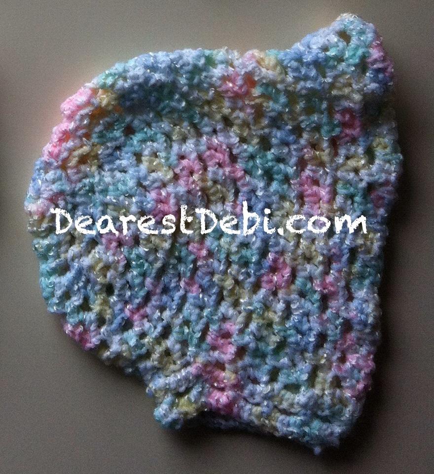 Preemie bonnet without ties - Dearest Debi Patterns