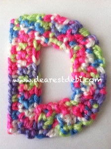 Crochet pattern for the letter D… D is for Debi.