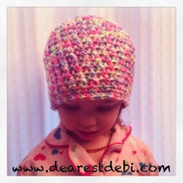 Crochet Cross Stitch Toddler Beanie - Dearest Debi Patterns