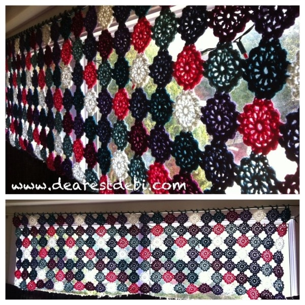 Crochet Flower Motif (No Sew) Valance - Dearest Debi Patterns