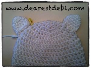 Newborn Crochet hat ear Placement