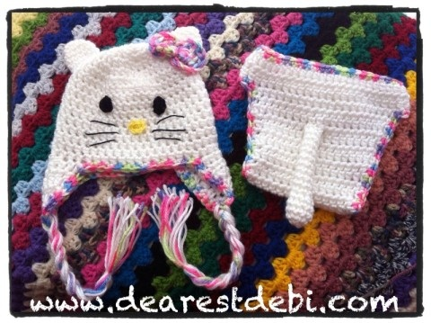 Crochet Newborn Hello Kitty Hat & Diaper Cover - DearestDebi Patterns