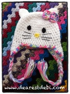 Crochet Newborn Hello Kitty Hat - DearestDebi Patterns