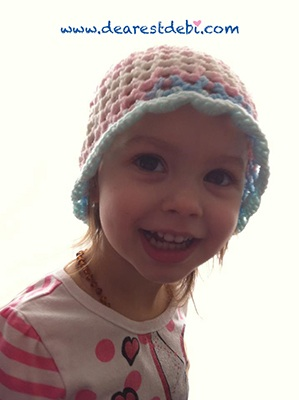 3D Crochet Flower Beanie - Toddler - Dearest Debi Patterns
