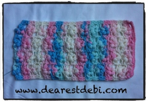 Crochet Puff Flower Stitch Scarf - English pattern by Dearest Debi