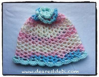Crochet 3D Flower Beanie - Toddler - Dearest Debi Patterns