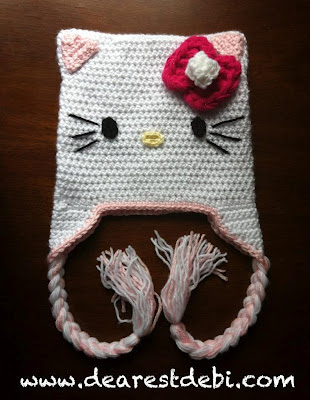 Free Crochet Pattern Hello Kitty Hat : Hello Kitty Crochet Hat - Dearest Debi Patterns