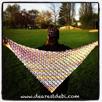 Crochet Flower Lattice Shawl - Dearest Debi Patterns