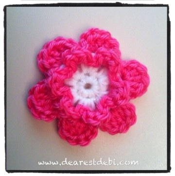 Easy Crochet Flower Patterns For Hats : Simple Crochet Flower - Dearest Debi Patterns
