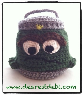 Crochet Oscar the Grouch Inspired Trash Can