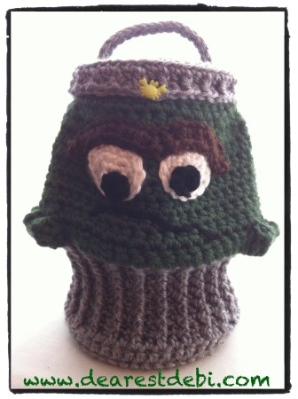Crochet Oscar the Grouch Inspired Trash Can - Dearest Debi Patterns