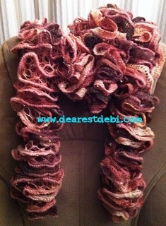 Patons Pirouette Crochet Ruffle Scarf - Dearest Debi Patterns