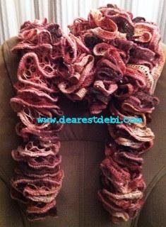 Patons Pirouette Crochet Ruffle Scarf - Dearest Debi Patterns
