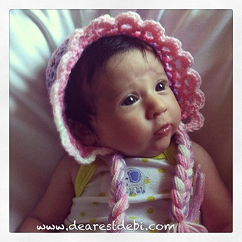 Crochet 3D Easy Bonnet - Dearest Debi Patterns