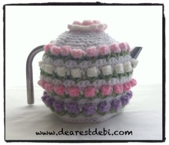 Crochet Rose Bud Tea Cozy - Dearest Debi Patterns