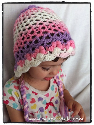 Crochet 3D Flower Bonnet Toddler - Dearest Debi Patterns