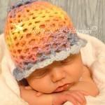 Crochet 3D Flower Beanie – Newborn
