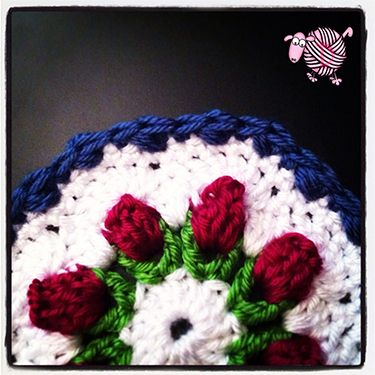 Crochet Flower Bud Granny Octagon Afghan Edging - Dearest Debi Patterns.