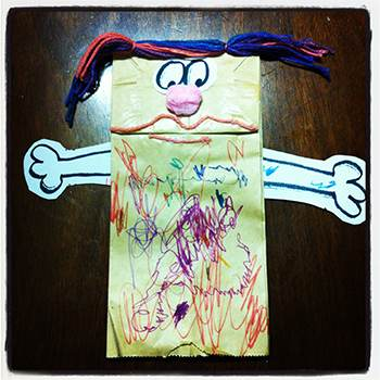 Paper Puppets with Yarn Scraps Kids Craft