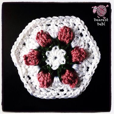 Crochet Flower Bud Granny Hexagon & Hand Bag