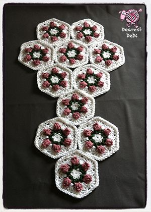 Crochet Flower Bud Granny Hexagon Hand Bag - Dearest Debi Patterns