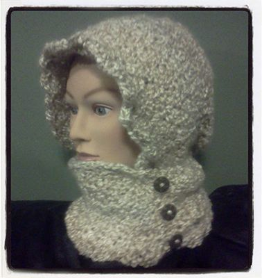 Free Crochet Pattern For Infinity Scarf With Hood : Crochet Hooded Infinity Scarf with Buttons - Dearest Debi ...