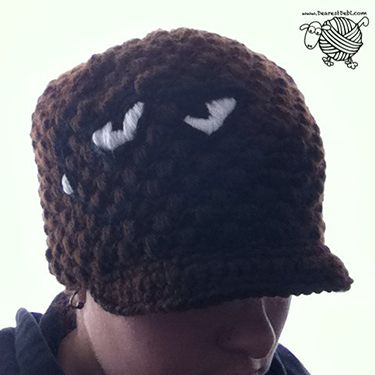 Crochet Puff Ball Beanie with Brim - Dearest Debi Patterns