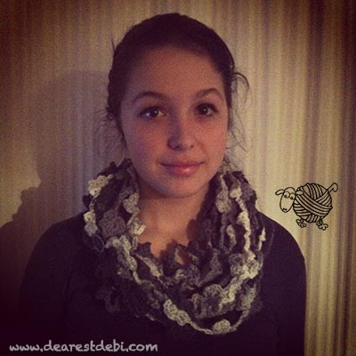 Crochet Dancing Flowers Infinity Scarf - Dearest Debi Patterns