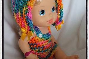 Crochet Baby Alive Bonnet Romper Set - Dearest Debi Patterns