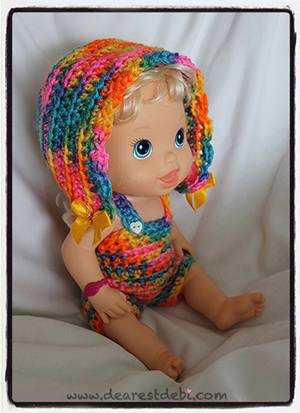 Crochet Baby Alive Bonnet Romper Set - Dearest Debi Patterns