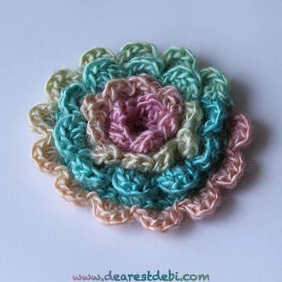 Easy Layered Crochet Flower Pattern : Crochet Simple Layered Flower - Dearest Debi Patterns