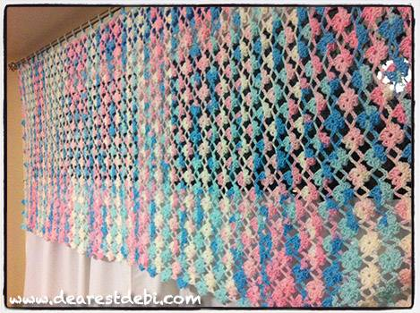 Crochet Flower Lattice Curtain Valance - Dearest Debi Patterns