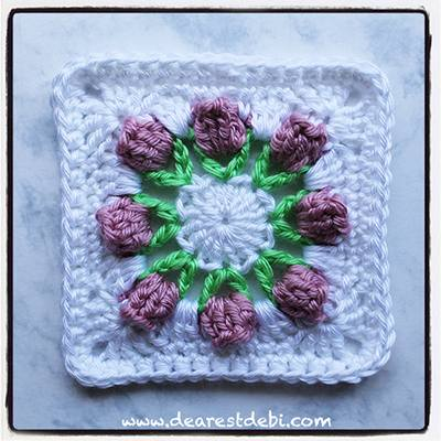 Flower Bud Granny Square - Dearest Debi Patterns