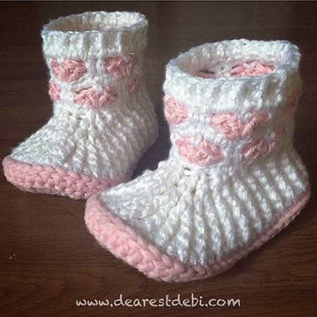 Cupids Sweet Hearts Crochet Booties - Dearest Debi Patterns