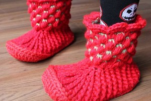 Tunisian Crochet Berry Booties