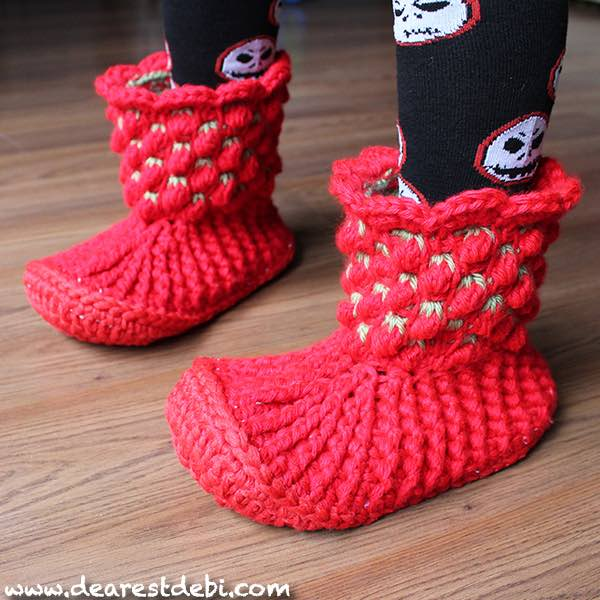 Tunisian Crochet Berry Booties - Dearest Debi Patterns
