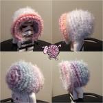 Fuzzy Rainbow Crochet Bonnet