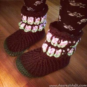 Tunisian Crochet Roses Garden Boots