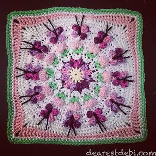 Butterfly Crochet Afghan Pattern Free : Crochet Butterfly Garden Afghan Block - Dearest Debi