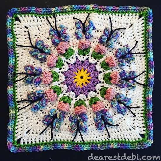 Crochet Butterfly Garden Afghan Block - Dearest Debi Patterns