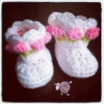 Crochet Little Miss Flower Booties - Dearest Debi Patterns