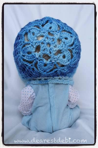 Crochet Snow Flower Bonnet - Dearest Debi Patterns