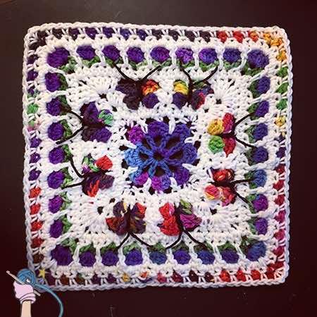 Blooming Garden Afghan Block - Dearest Debi Patterns