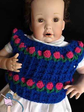 Waffle Stitch Flower Garden Baby Sweater - Dearest Debi Patterns