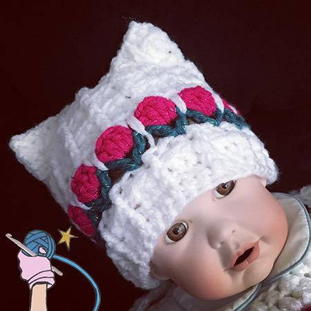 With Love Flower Garden Baby Hat - Dearest Debi Patterns