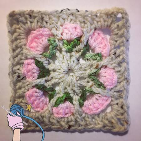 Crochet Rosie Posy Flower Square - Dearest Debi Patterns